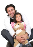 girl and her dad over white poster