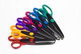 colorful craft scissors pile poster