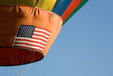 hot air balloon with flag poster