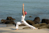 hatha yoga by the beach poster