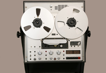 classic open reel audio tape recorder