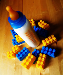 baby bottle and toys
