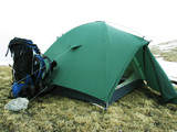 tent and backpack poster
