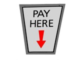 pay here sign. spending money. money concept poster