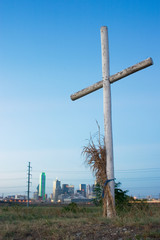 cross on a hill near dallas