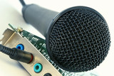 microphone and computer sound card poster