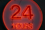 open 24 hours, neon sign poster