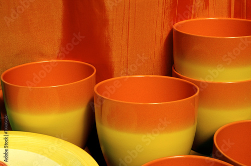 orange and yellow pots
