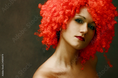 portrait in a red wig