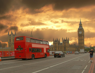 houses of parliament and double-decker bus