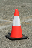 red and white plastic traffic safety cone poster