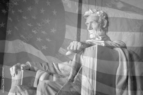 Leinwandbild Motiv lincoln memorial & american flag