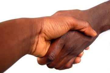large black handshake