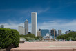 Leinwanddruck Bild - chicago skyline and buckingham fountain
