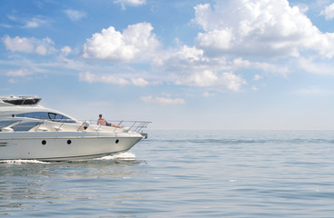 man in vacation on yacht