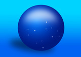 blue crystal ball with stars poster