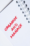 organize and manage - notebook note poster