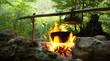 Leinwanddruck Bild - camping fire