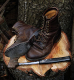 old boots on stump poster