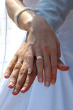 just married - hands, rings poster