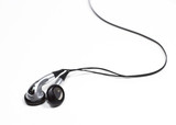 silver ear bud headphones poster