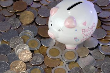 piggy bank and currency