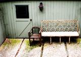antique furniture in outdoor garden poster