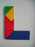 wooden colourful blocks - l for learning or p pla poster