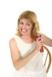 woman curling tangled hair poster