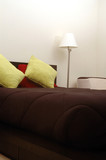 bedroom with pillows poster