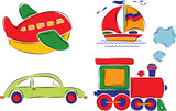 ñhild has drawn car, plane, ship and train, vector poster