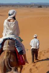 caravan of tourists in desert