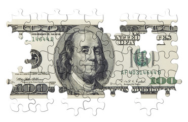 one hundred dollars puzzle(isolated)