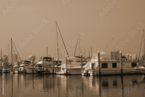 sepia boat on the water