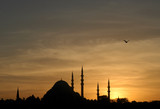 suleymaniye mosque at sunset poster