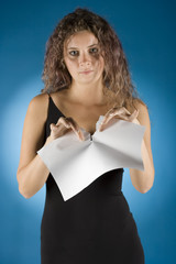 businesswoman tears contract