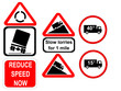 truck reduce speed now and slow trucks signs