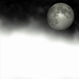 full moon on a foggy night poster