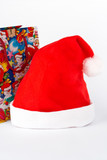detail of christmas hat and bag