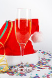champagne glass and christmas hat, with ribbons, c