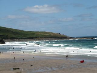 waves on the beach near st ives