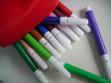 colourful markers with red case poster
