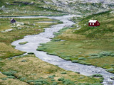 river and small houses in norway poster