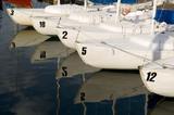 sail boat - skiffs in harbor poster