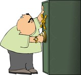 man opening a safe poster