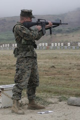 us marine at rifle range