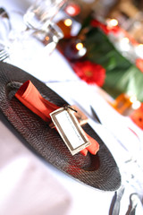 table decor and tag orange