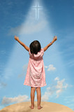 child with arms extended toward heaven poster