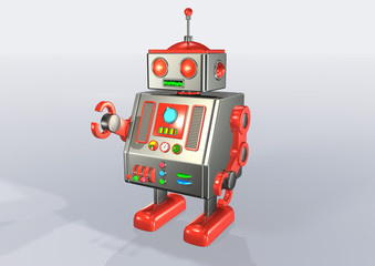 seventies android red metallic robot
