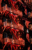 fire escape closeup in apartment building poster